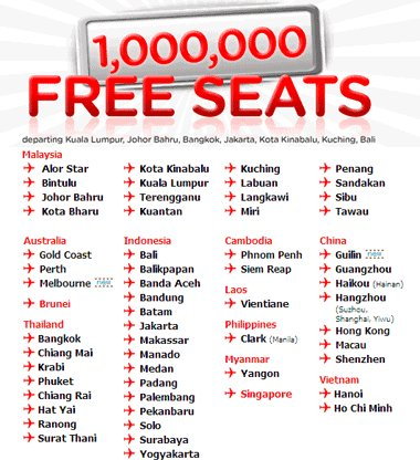 AirAsia - 1 Million free Seats