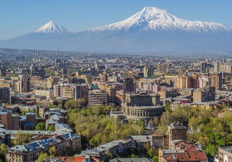 Mt Ararat and Yerevan