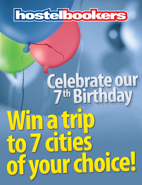 HostelBookers 7th Birthday Competition - Win travel to 7 cities