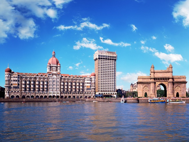 Taj Mahal Palace and the Taj Mahal Tower Hotel located near the Gateway of India