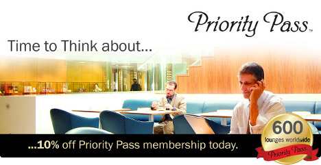 Priority Pass: Save 10% on your first-year's membership fee