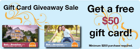 Free $50 Gift Card from BedandBreakfast.com