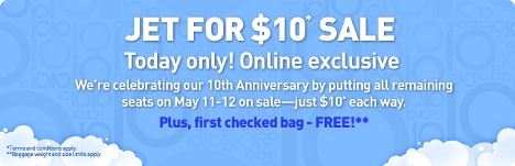 jetBlue - $10 All remaining seats, May 11-12