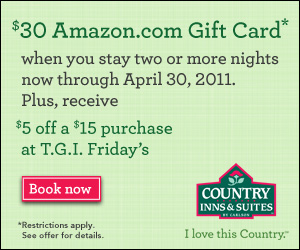 Country Inns & Suites promotion - receive a $30 Amazon Gift Card