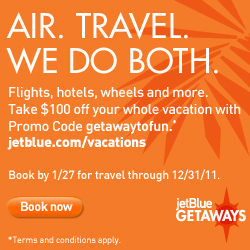 $100 off JetBlue Getaways air+hotel packages