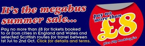 Megabus sale - Travel to anywhere in the UK and pay no more than £8