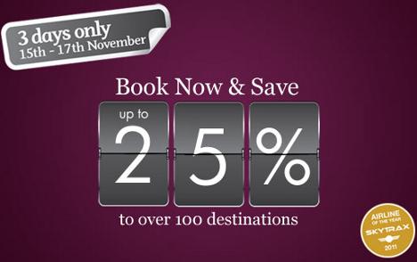 Qatar Airways sale - save up to 25% worldwide