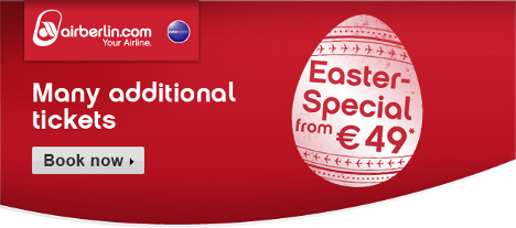 Air Berlin Easter Sale: bargain fares from EUR 49 available until Easter Monday