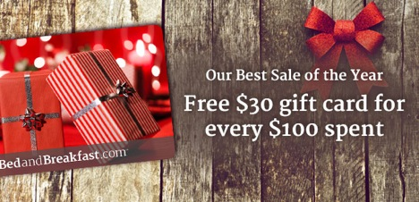 Cyber Monday Sale - Free $30 B&B gift card with every $100 spent