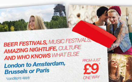Travel from London to Paris, Amsterdam or Brussels from just £9