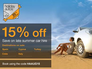 Holiday Autos 15% Off code for late summer car hire