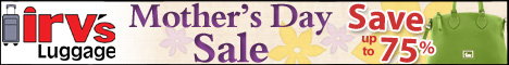 Save up to 75% on Irv's Luggage Mothers Day sale