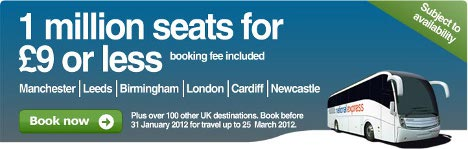 National Express - 1million cheap seats for £9 or less!