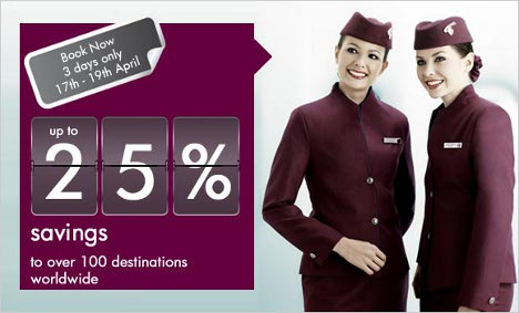 Qatar Airways - Save up to 25% on airfares to over 100 destinations worldwide