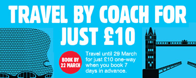 Travel by coach in the UK for just £10.00 with National Express